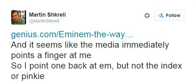 """Shkreli tweets: """"And it seems like the media immediately points a finger at me. So I point one back at em, but not the index or pinkie."""""""