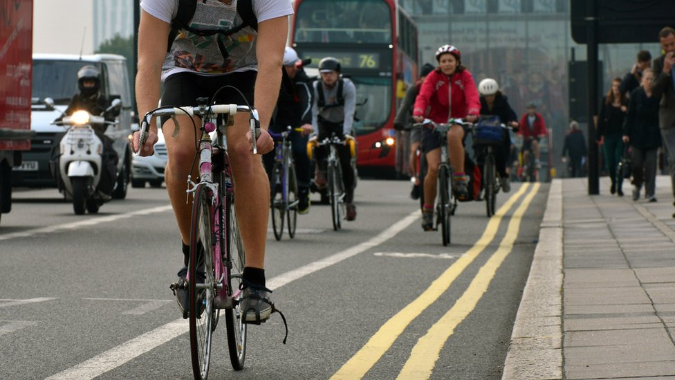 Cyclists on a London road