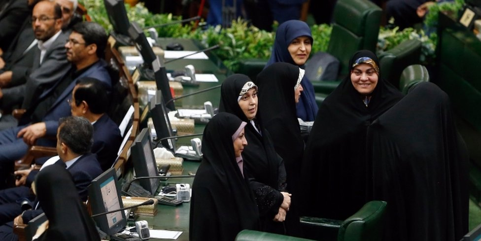 Iranian women lawmakers attend President Hassan Rouhani's swearing-in at the Iranian parliament in Tehran on 5 August 2017.