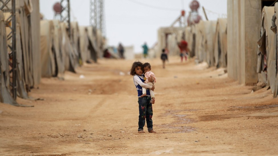 Syrian children in refugee camp in the Jrzinaz area, southern countryside of Idlib, Syria