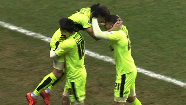 Huddersfield players celebrate Jamie Paterson's goal