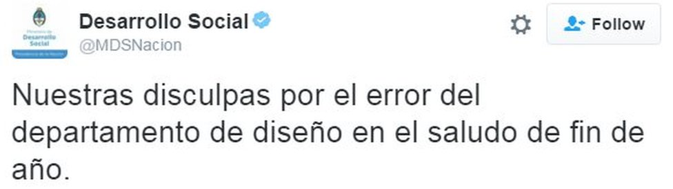 """Tweet from Argentina's social development ministry reads: """"Our apologies for the mistake of the graphics department in the new year's message"""""""