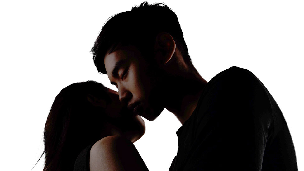 Chinese couple kissing