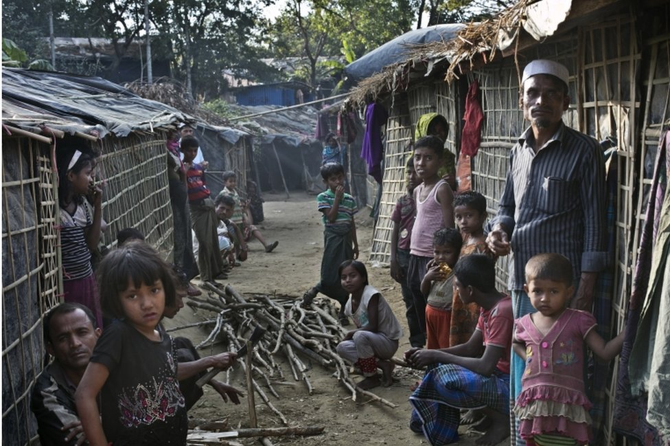 People are seen in the Kutapalong Rohingya refugee camp on January 20, 2017 in Cox's Bazar, Bangladesh.