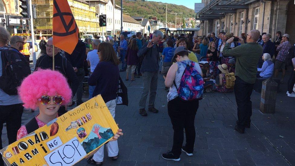 Crowds have gathered in Aberystwyth