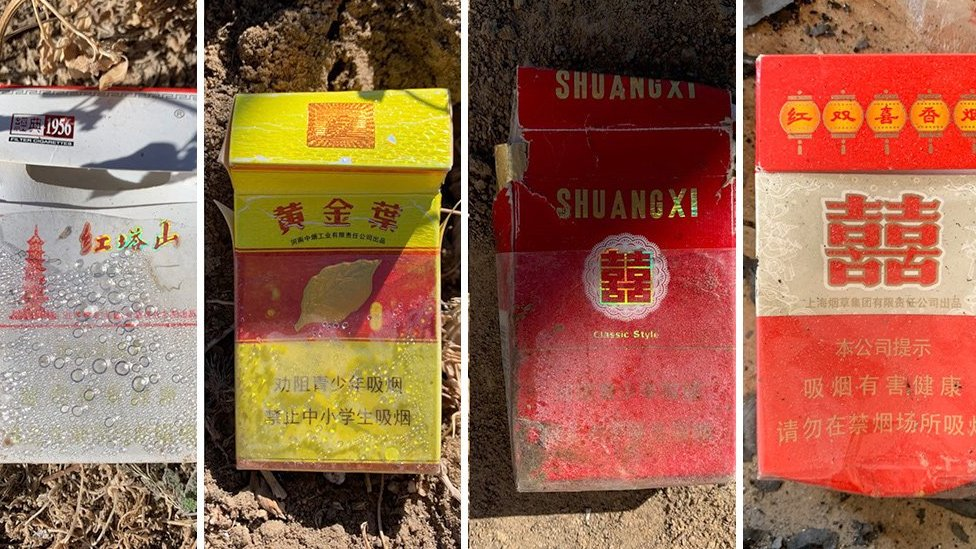 Cigarette boxes of different Chinese brands were left behind after police raided dozens of cannabis farms in Shiprock, New Mexico