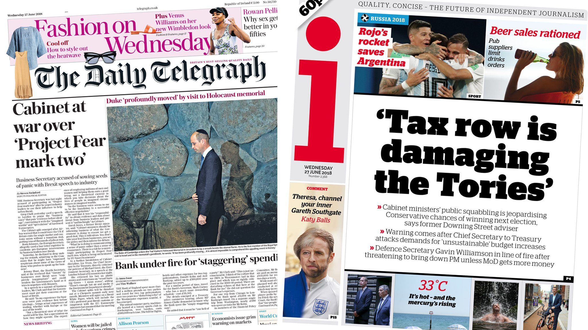 Telegraph and the i