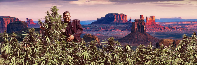 Dineh Benally, the former San Juan Tribal Farm Board president, poses with cannabis plants