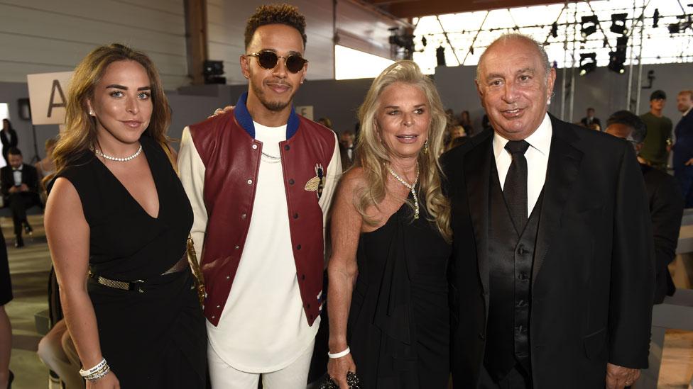 Chloe Green, Lewis Hamilton, Tina Green and Sir Philip Green at Cannes Film Festival