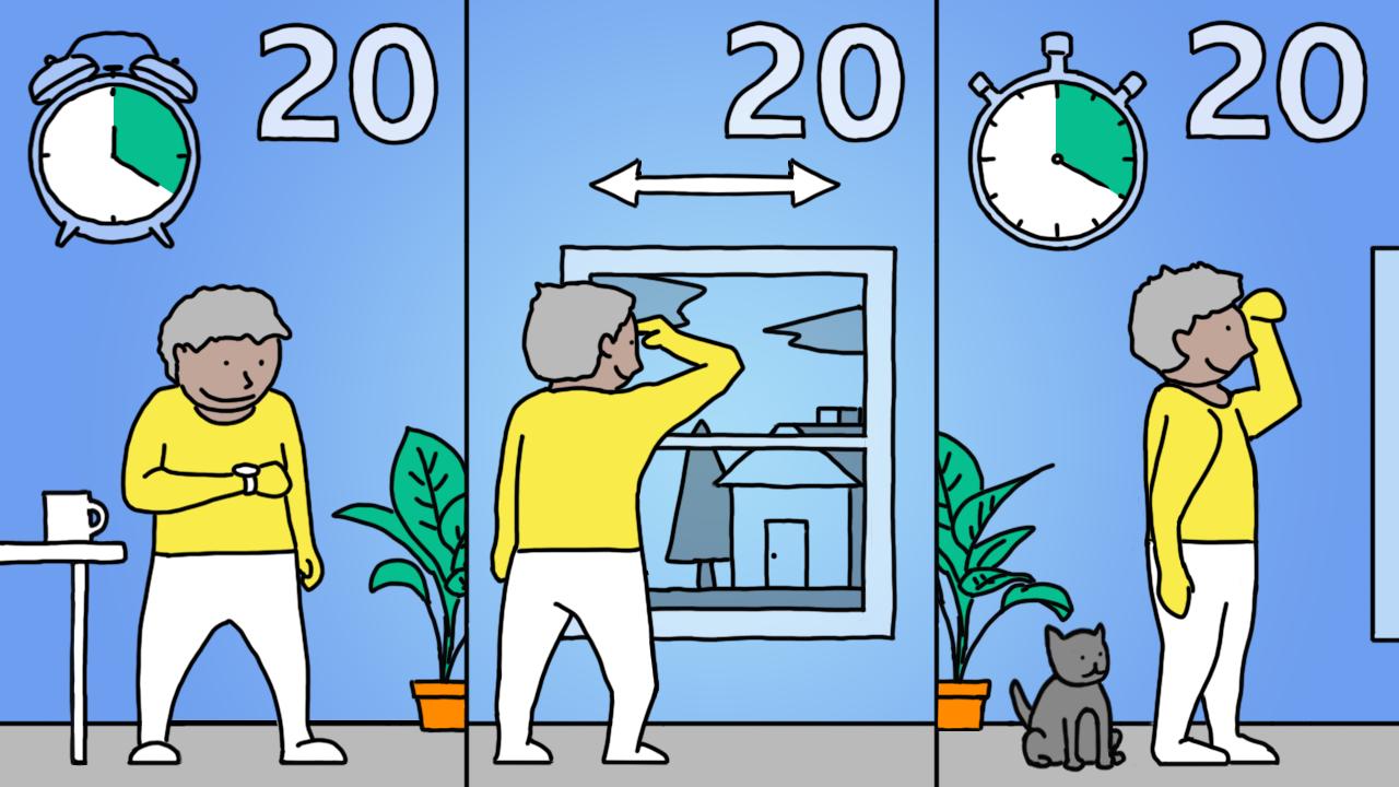 Ilustração da regra 20-20-20
