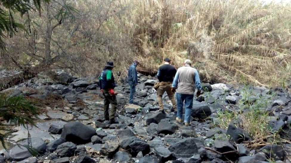 Personnel from the National Commission for the Search of Persons (CNBP) carry out search tasks at different sites in the town of Salvatierra, Guanajuato
