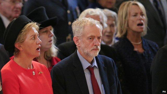 Jeremy Corbyn during the national anthem