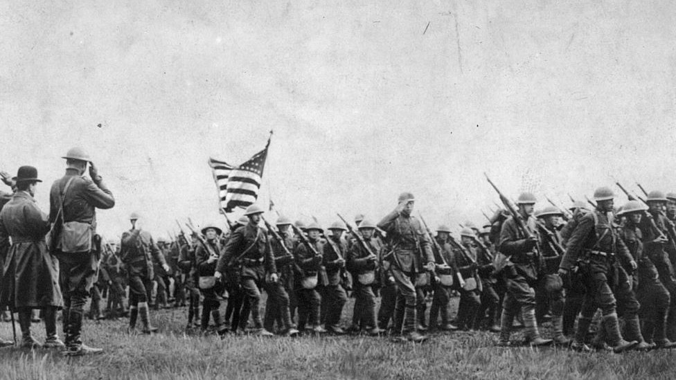 circa 1917: American troops on the march during the First World War.