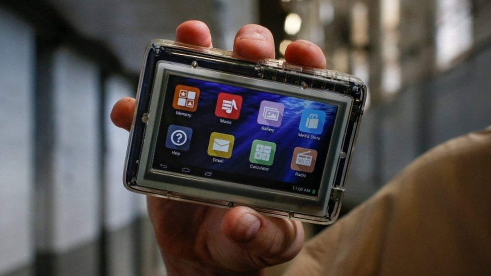 A JPay tablet device shown at the East Jersey State Prison in New Jersey