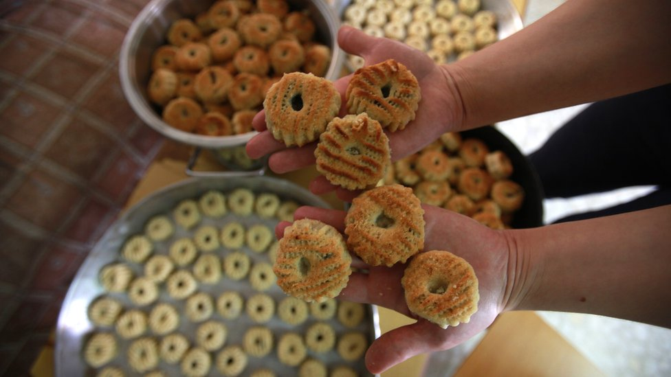 Close-up of Mamoul biscuits
