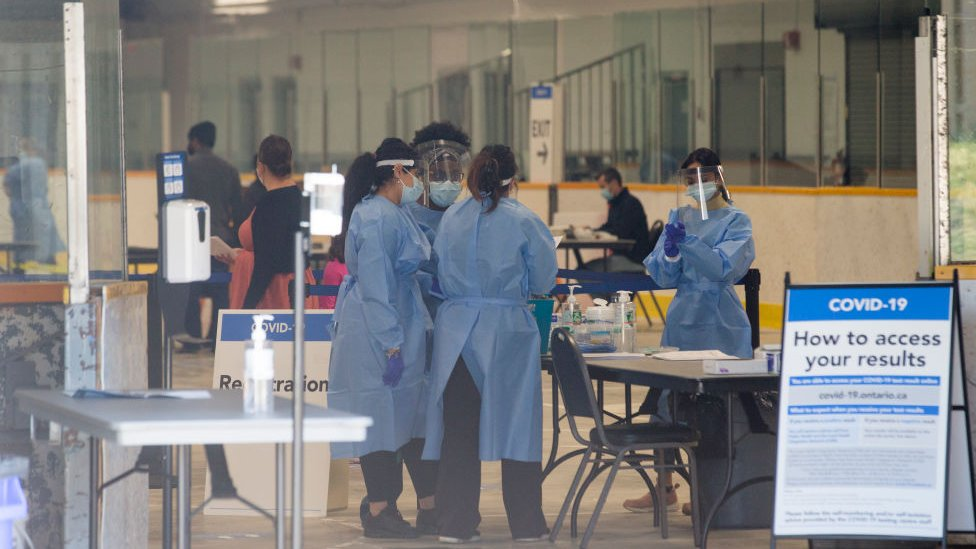 A Covid-19 test centre is running at Greenbriar Recreation Centre, in Brampton, near Toronto