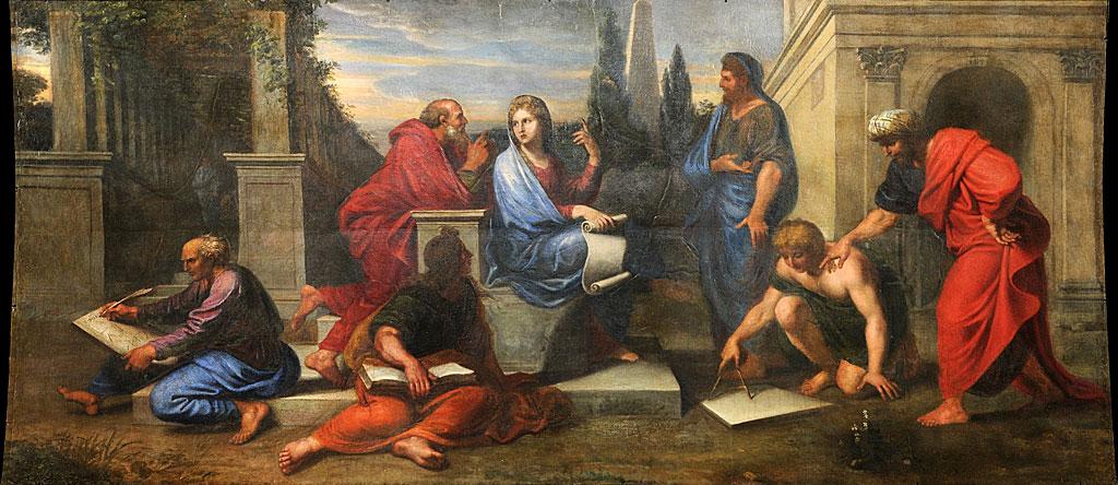 Aspasia rodeada de filósofos griegos, como se la imaginó Michel II Corneille en 1680
