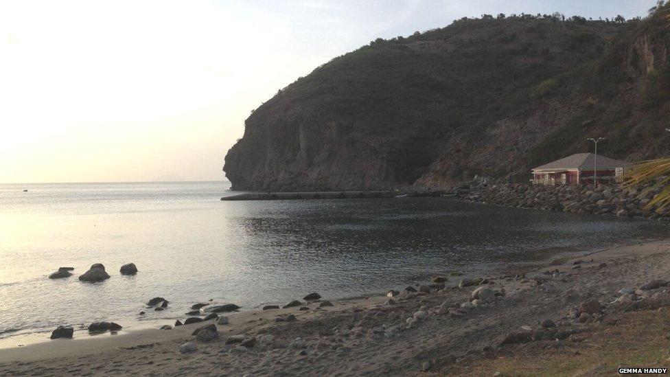 "A picture of a ""black sand"" beach in Montserrat"
