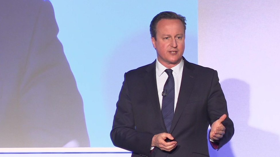 David Cameron addressing party activists in London