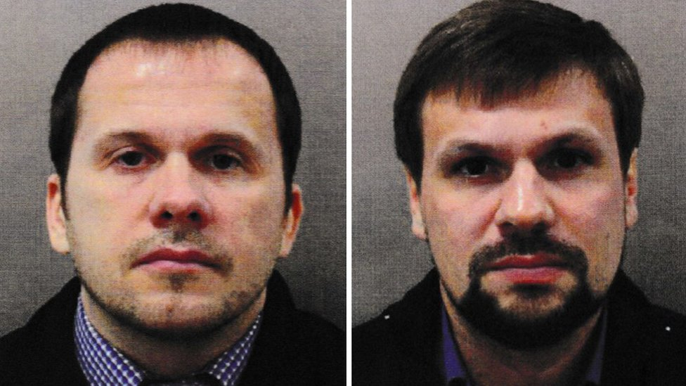 Composite of suspects Alexander Mishkin (aka Alexander Petrov) and Anatoliy Chepiga (aka Ruslan Boshirov). Issued 05 Sept 2018