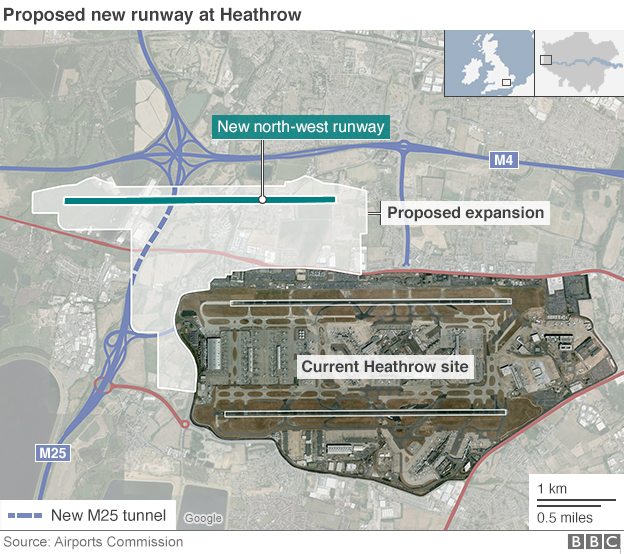 Graphic showing the proposed Heathrow expansion.