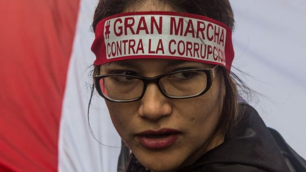 Manifestante en Perú