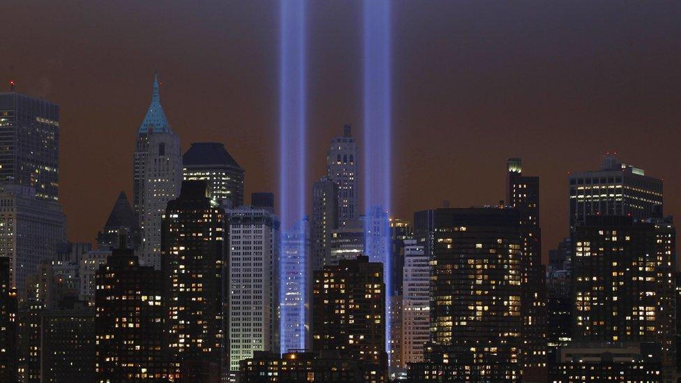 Manhattan Tribute in Lights commemorating 9/11