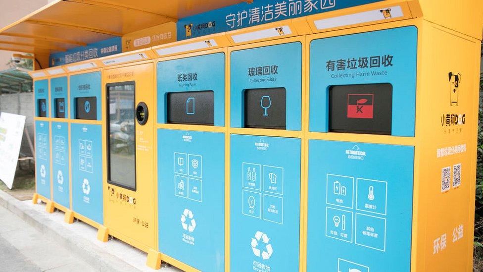 máquina inteligente de clasificación y reciclaje de basura en Wuxi, provincia de Jiangsuel distrito de Binhu