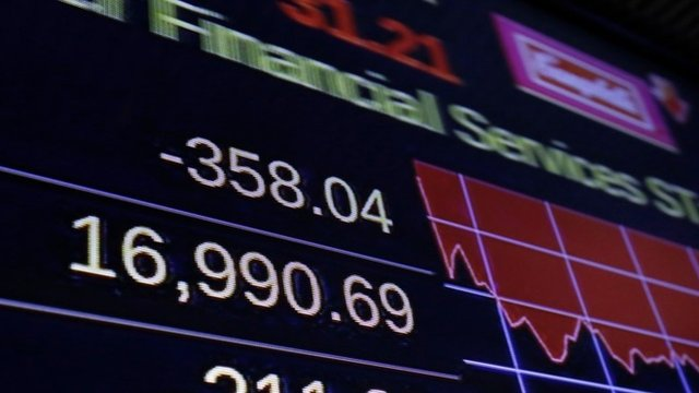 A screen on the floor of the New York Stock Exchange