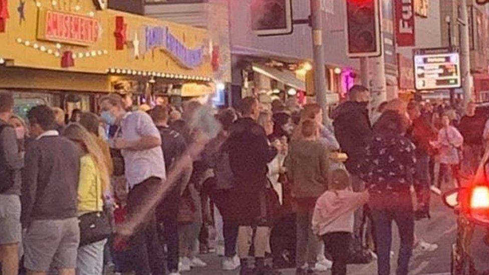 people on the promenade at Blackpool on Saturday