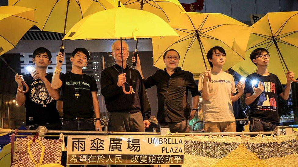 """Manifestantes de la """"Revolución de los Paraguas"""" en Hong Kong, 2014"""
