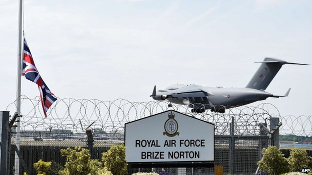 Plane carrying Syria victims arriving in Oxfordshire