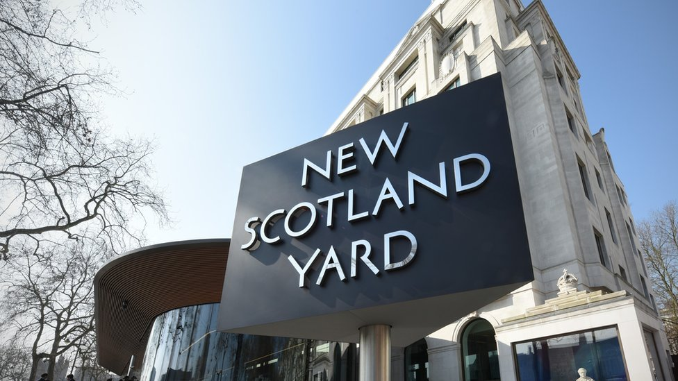 New Scotland Yard sign outside Met Police HQ
