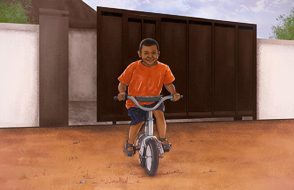 Ilustrasi Samuel bermain sepeda