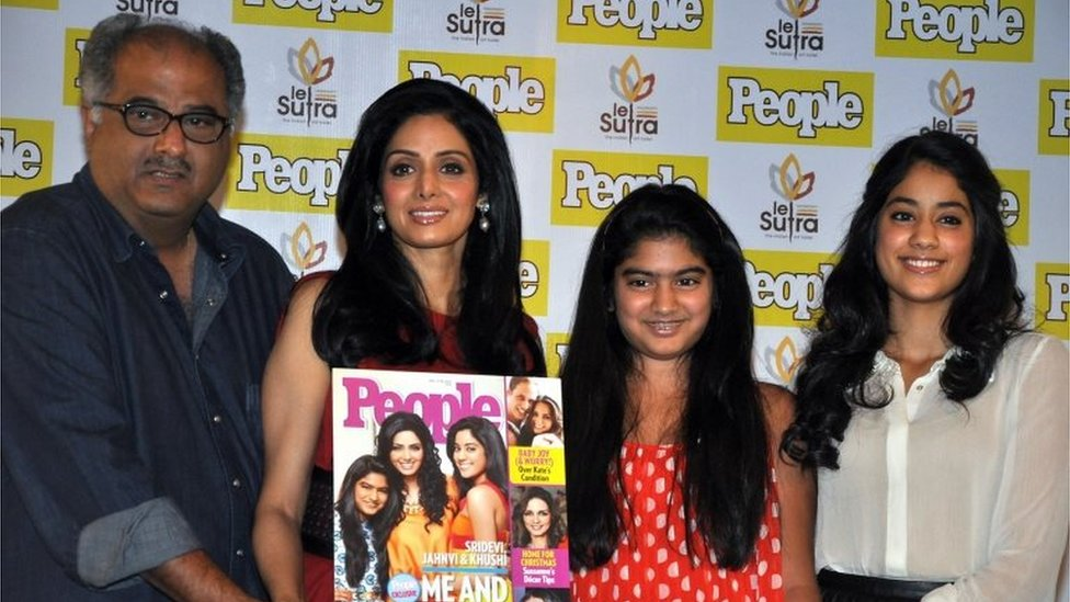 This file photo taken on December 17, 2012 shows Indian Bollywood actress Sridevi (2nd L) with her husband Boney Kapoor (L) and daughters Khushi (2nd R) and Jhanvi Kapoor (R)