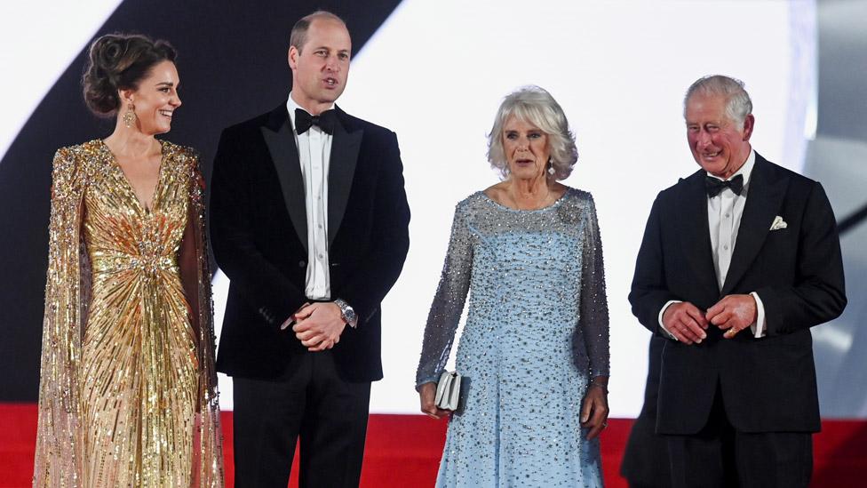 The Duchess of Cambridge, the Duke of Cambridge, the Duchess of Cornwall and the Prince of Wales at the premiere