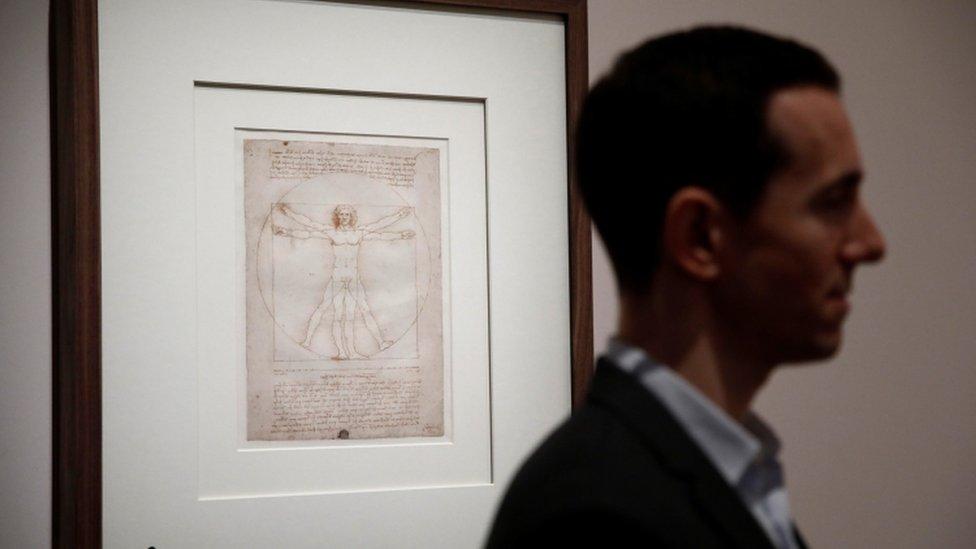 """انضمت لوحة """"الرجل الفيتروفي"""" للمعرض بعد خلاف ثقافي بين فرنسا وإيطاليا"""