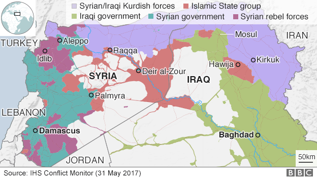 Map showing areas of control in Iraq and Syria