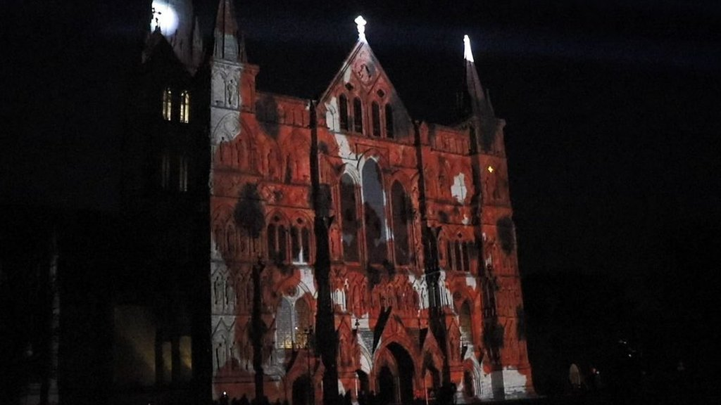 Poppies projected on side of Salisbury Cathedral