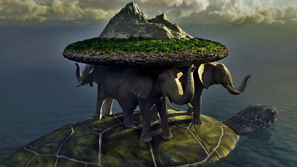 Cuatro elefantes cargan el disco del mundo y navegan sobre una tortuga.
