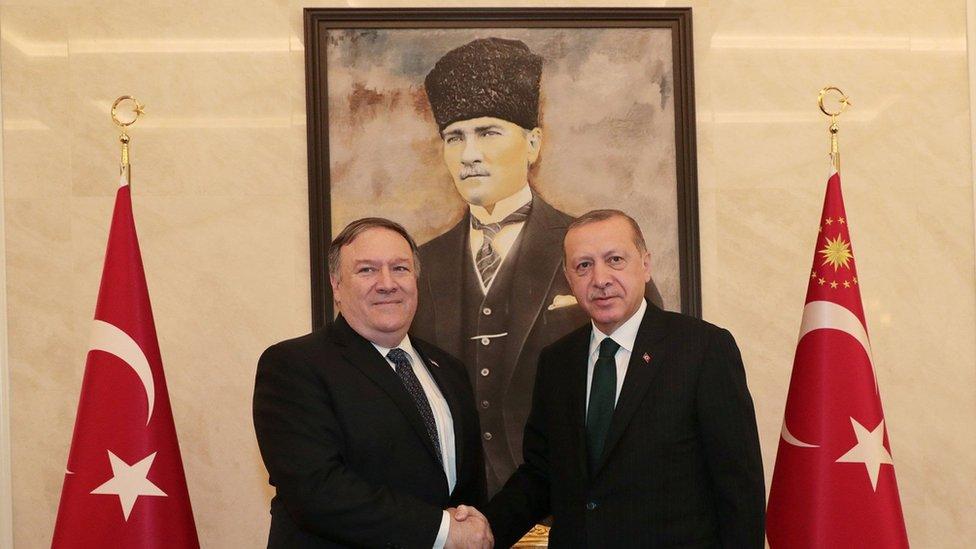 ABD Dışişleri Bakanı Mike Pompeo ve Cumhurbaşkanı Recep Tayyip Erdoğan arasında 2018'de yapğılan görüşme