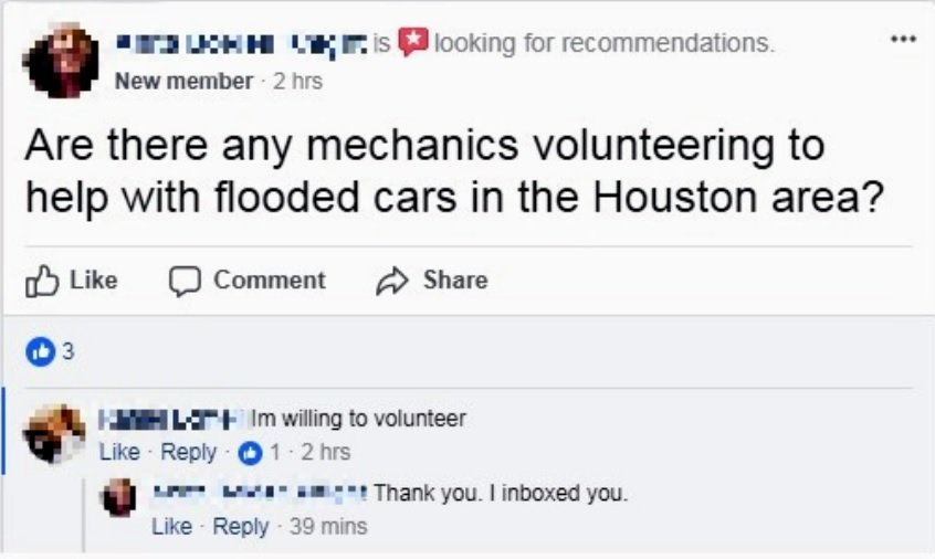 A Facebook post reads: 'Are there any mechanics volunteering to help with flooded cars in the Houston area?' and someone responds: 'I'm willing to volunteer'