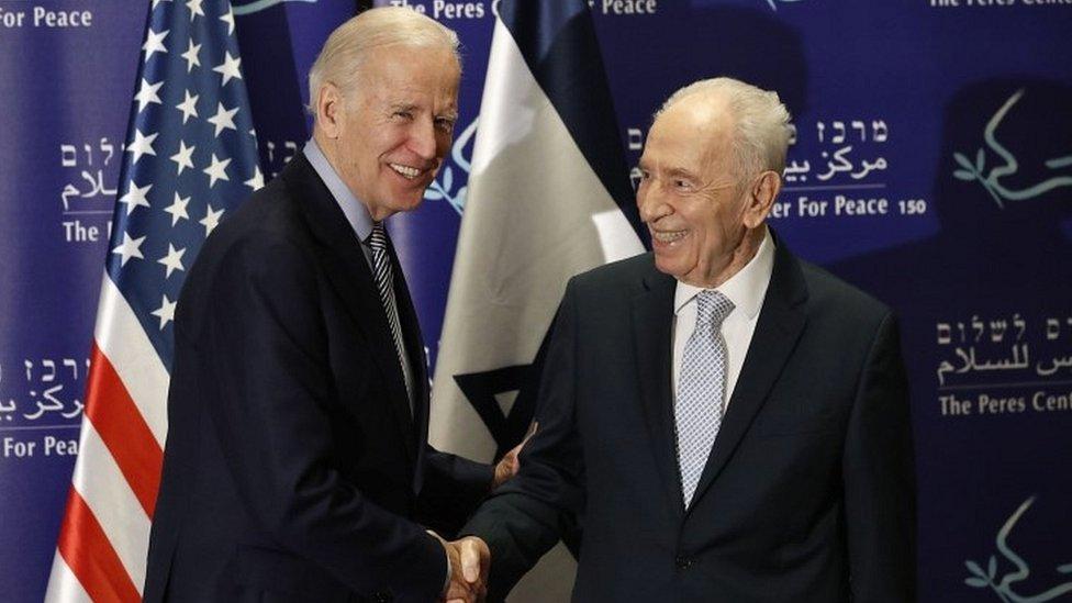 US Vice President Joe Biden with former Israeli President Shimon Peres on 8 March 2016