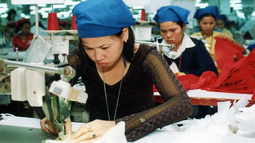 Cambodia textile factory workers