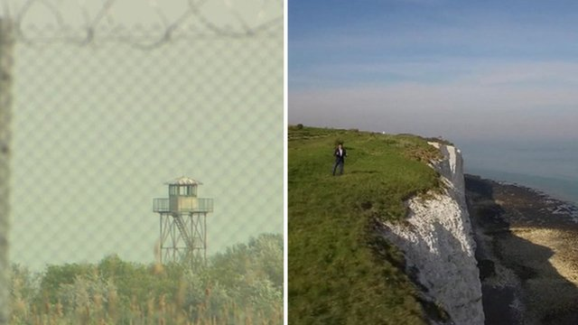 Border fence (left) and cliff top (right)