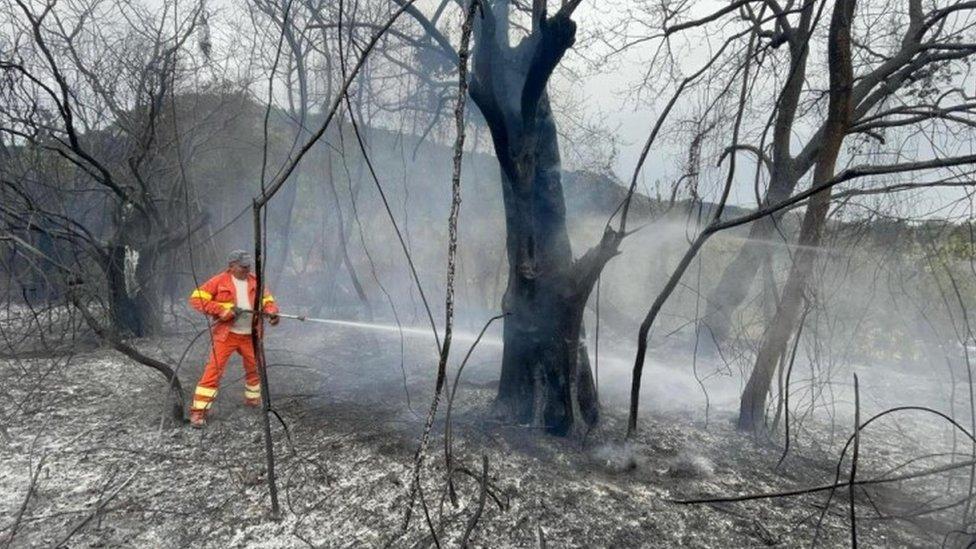 Vatrogasac gasi požar u Skano di Montifero