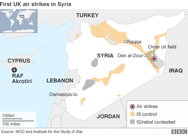 Map showing location of first RAF airstrikes in Syria