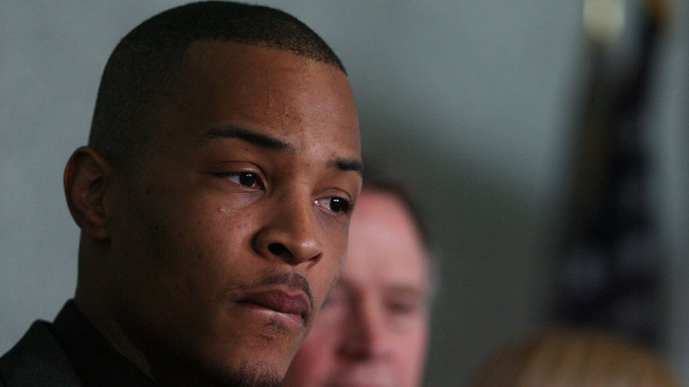 Recording artist Clifford 'T.I.' Harris pauses during a press conference at the Richard B. Russell Federal Building March 27, 2009 in Atlanta, Georgia.