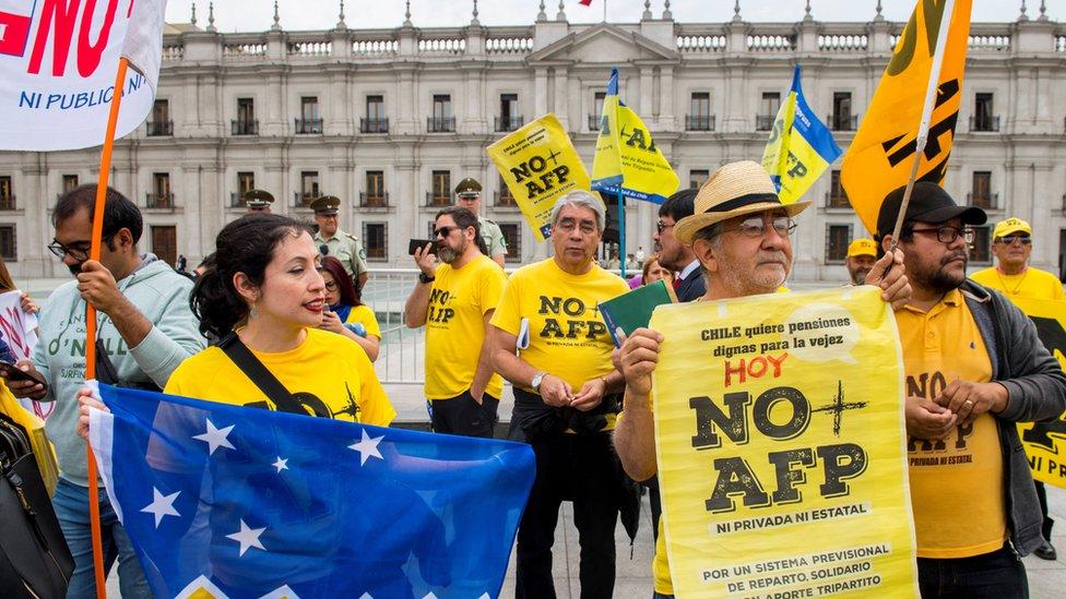 Manifestantes contra AFP
