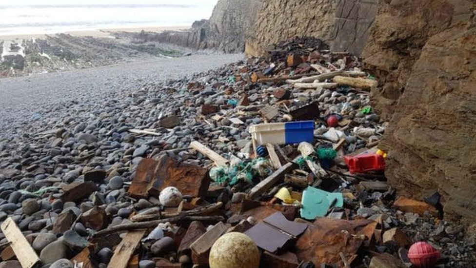 Plastic washed up on Cornish beach